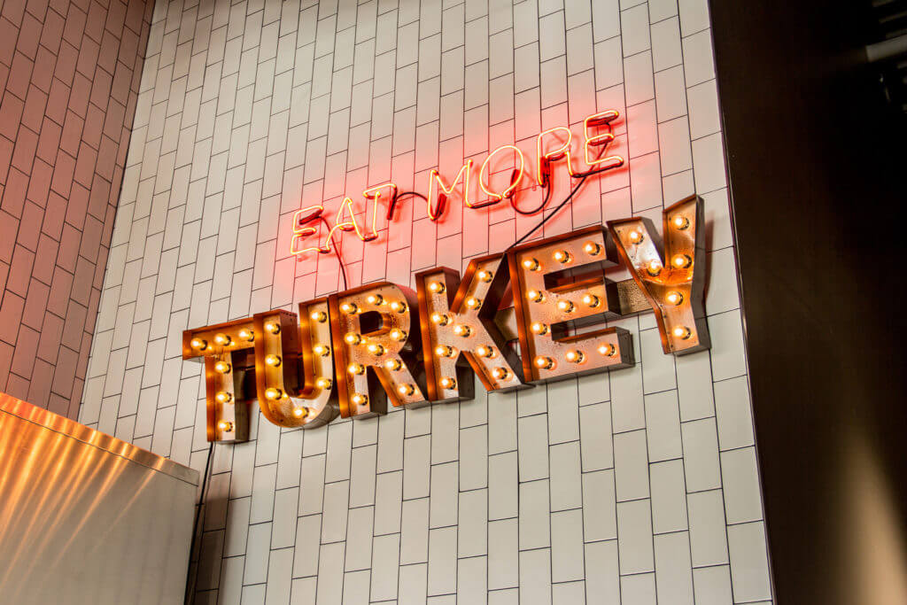 eat more turkey neon sign