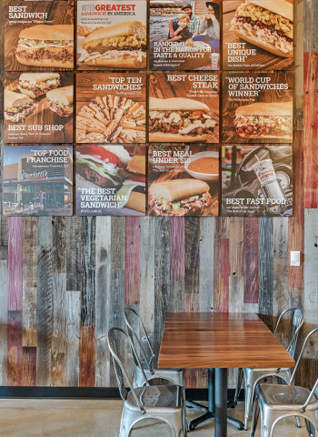 Capriotti's signs hanging over table